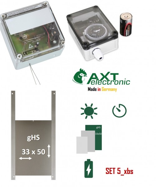 SET 5_xbs - contains: Doorkeeper with batteries, mechanical timer, geese size door, for outdoor installation